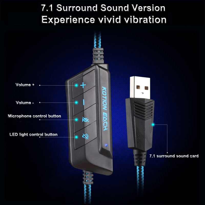 KOTION EACH G9000 USB 7 1 Surround Sound Version Game Gaming Headphone Computer Headset Luminous Earphone PC Headband With Mic in Headphone Headset from Consumer Electronics