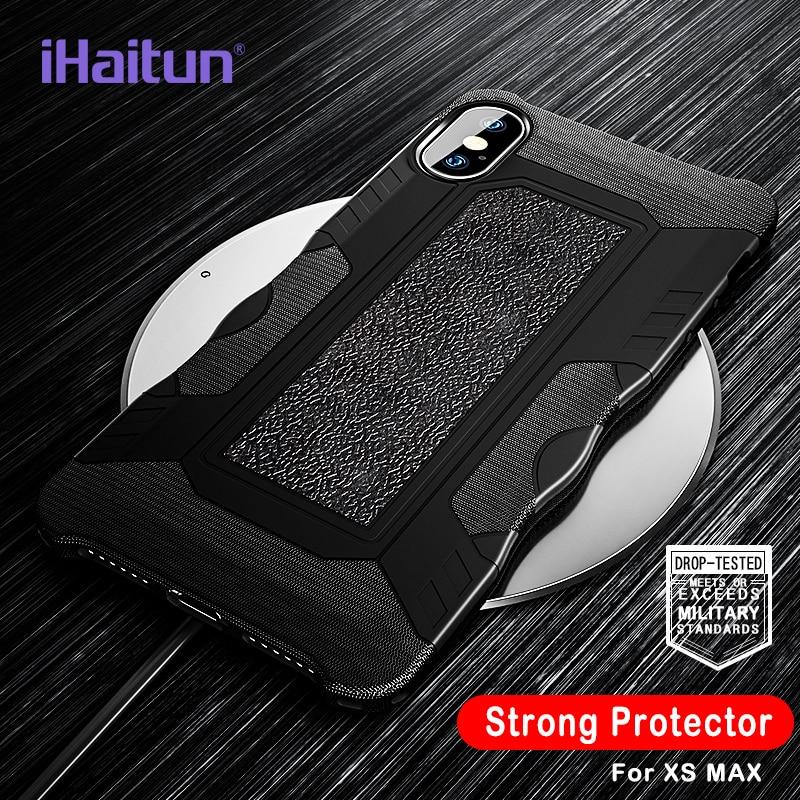IHaitun יוקרה הלם הוכחת שריון מקרה עבור iPhone XS MAX XR X מקרי צבאי מגן חזרה כיסוי עבור iPhone 7 8 בתוספת מקרי טלפון