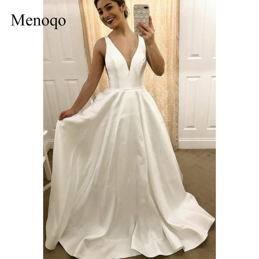 Menoqo Simple Satin Traditional Wedding Dresses with V neckline