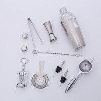 11 pcs/set hot selling Stainless Steel Cocktail Shaker Mixer Kit Bar Tools Set 750ML blender party bar tool set bar supplies