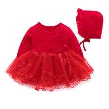 5f76e03f5 Vestidos de niña para 1 er cumpleaños manga larga vestido de princesa de  encaje Rosa bebé