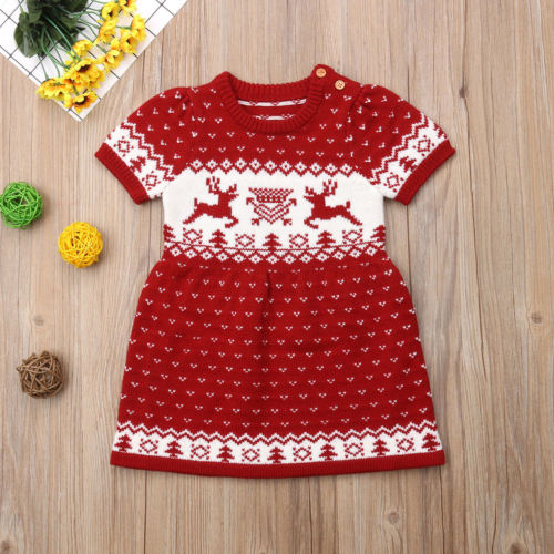 Christmas Toddler Kid Baby Girls Clothes Knitting Wool Sweater Crochet Dress Clothes day dress
