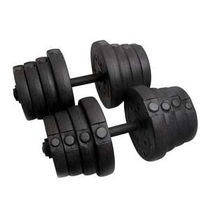 22PCS PE Material Dumbbell Set Weight Training Lifting Gym Barbell  Adjustable Cap Plates Durable Workout Exercise Fitness