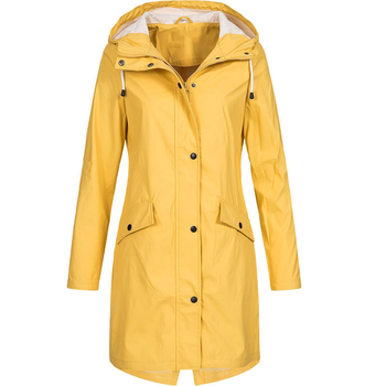 Coat Women Fashion Long Sleeve Hooded Raincoat Windbreaker Hiking Ladies Casual Solid Color Outdoor Waterproof Trench 2