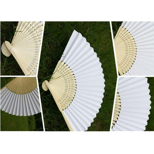 New Wooden Paper Fan Folding  50 pcs/lot  White Folding Elegant Paper Hand Fan Wedding Party Favors 21cm(white)Solid Color