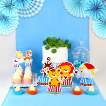 Circus Party Decoration Animal Table Centerpiece Birthday Supplies Blue Monkey Elephant Decor