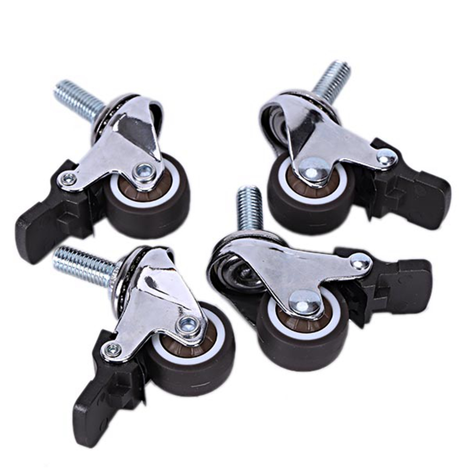 ELEG 4Pcs Mini Small Casters 1 Inch M8X15Mm Tpe Silent Wheels With Brake Universal Casters Wheel For Furniture Bookcase Drawer|Casters| |  - title=