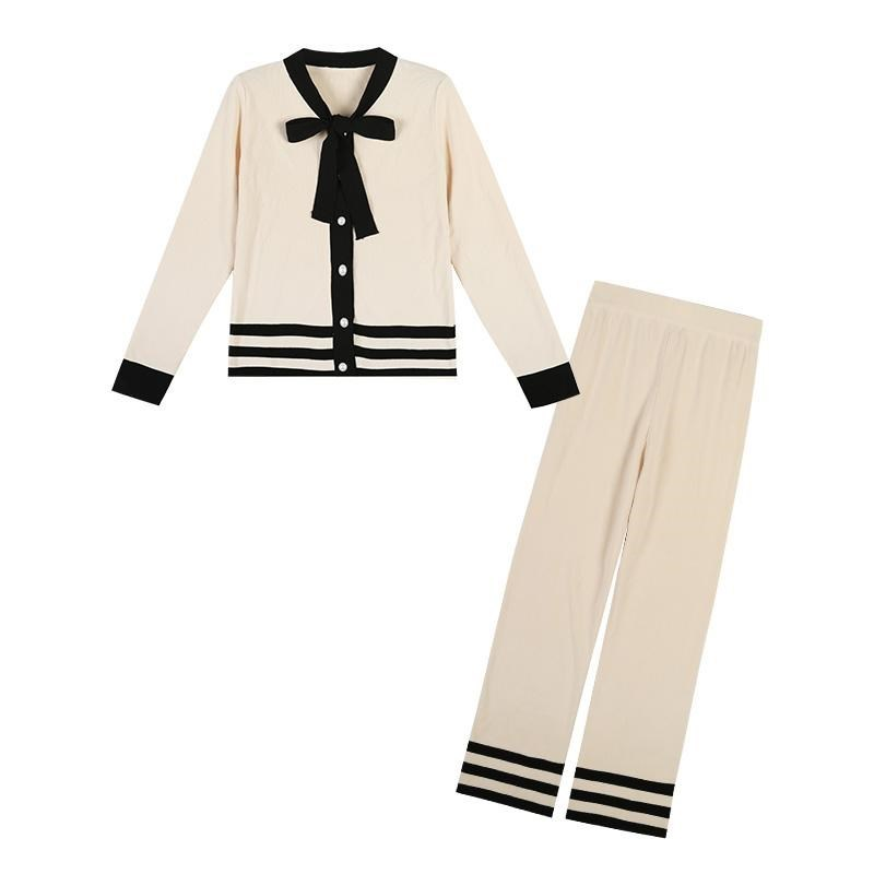 Bow Tie Collar Sweater Top + Wide Leg Pant 2 Piece Suit Women Striped Sweater Suit Sets Knitted Cardigans Pants Set Tracksuits