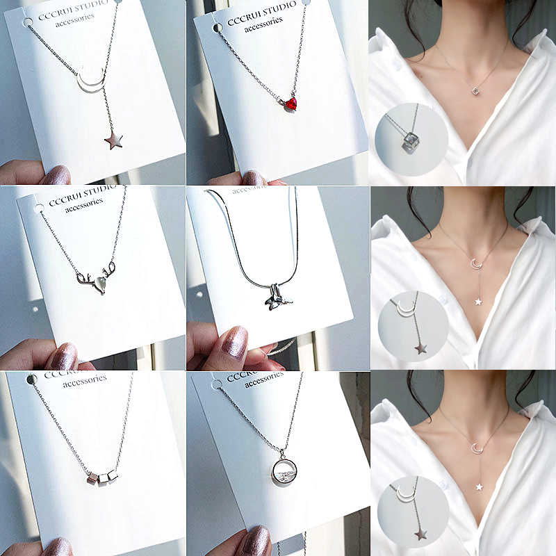 Fashion Tiny Dainty Necklaces for Women Jewelry Multilayer Moon Star Pendants Silver Color Choker Cross Ethnic Girlfriend Gift
