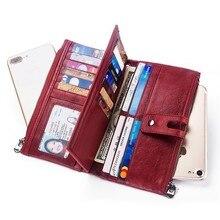 Купить с кэшбэком Fashion Women Wallets Genuine Leather Wallet Money Bag Phone Pocket Coin Purse Long Zipper Clutch Bags Card Holder Cartera Mujer
