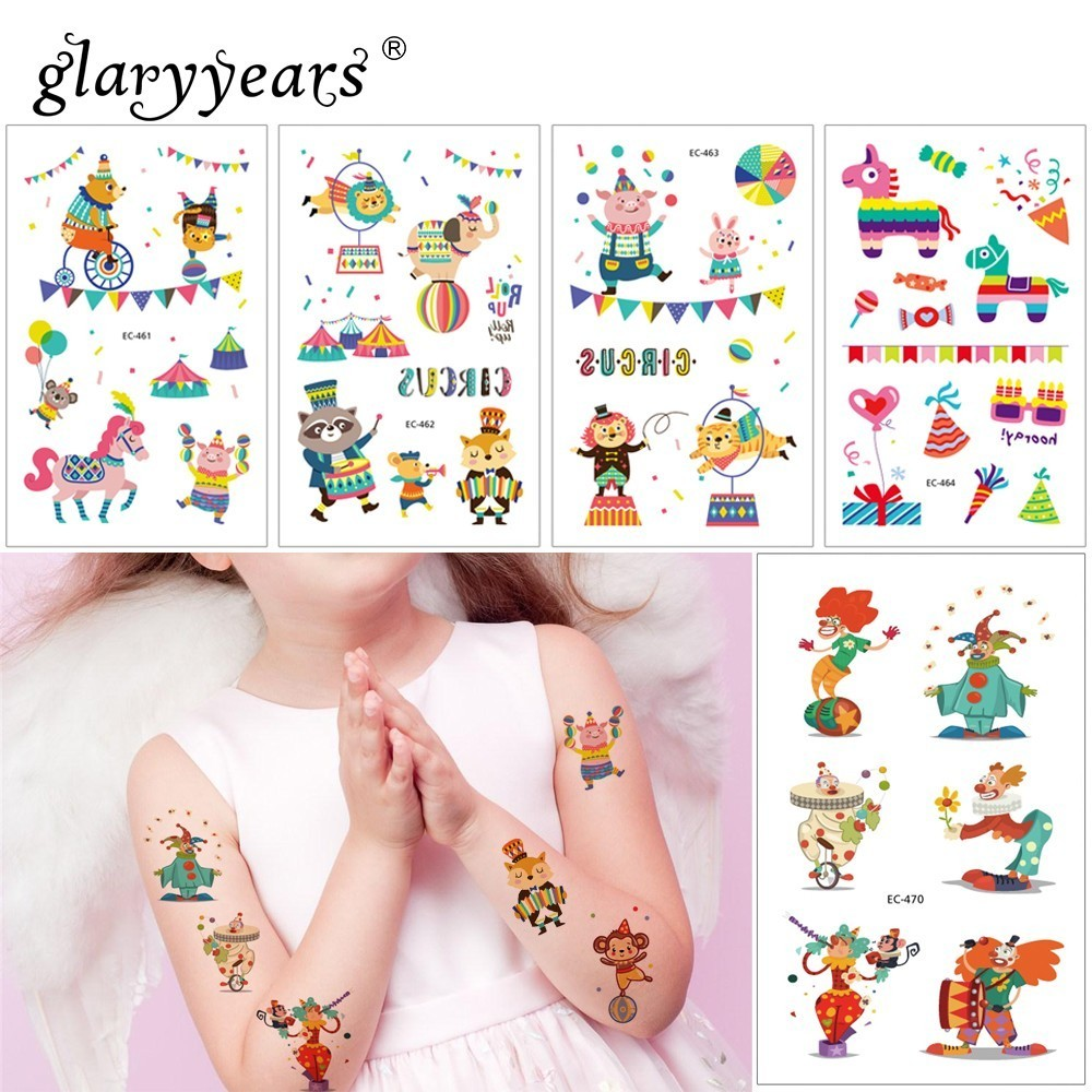 Glaryyears 1 Sheet Circus Series Temporary Tattoo Sticker Hot Fake Tatoo Flash Tatto Waterproof Small Body Art For Children EC