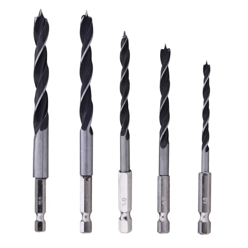 5pcs Drill Bit Set 4 5 6 8 10mm Change Metalworking Tools 1/4 Hex Shank Wood HCS Rustproof Woodworking Drill Hexagonal Shank