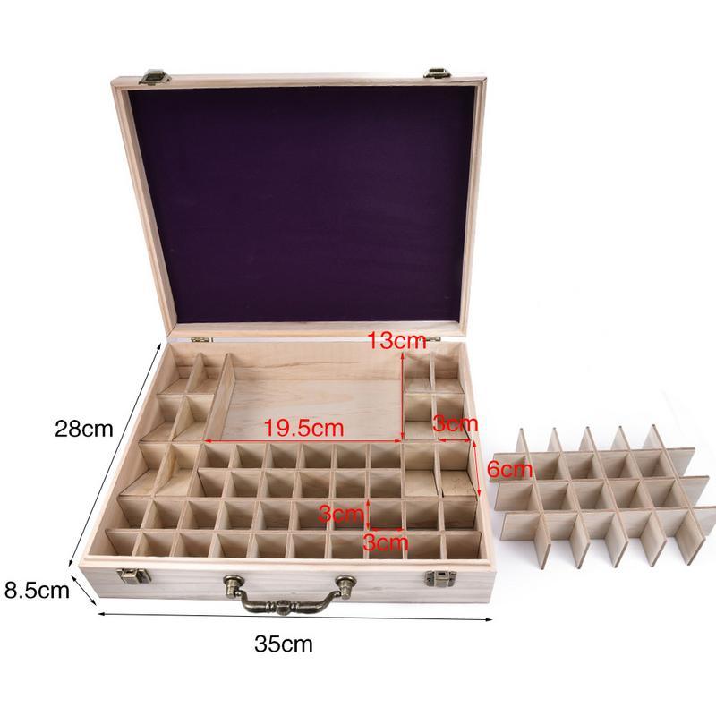 Nouvelle boîte d'huile essentielle de bambou haut de gamme avec 68 grilles bricolage mallette de rangement en bois de protection pour ornement artistique cadeau décoratif