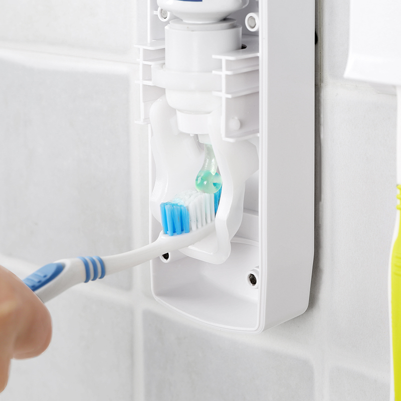 OLET 1 Set Creative Automatic Toothpaste Dispenser with Toothbrush Holder Bathroom Water Resistant Sticky Toothpaste Squeezer 1