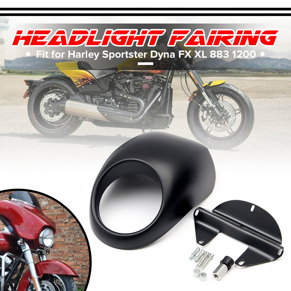 Moto Head light Masque Phare Carénage Avant Cowl Fork Montage Pour Harley Sportster Dyna FX XL 883 1200 Moteur Accessoires