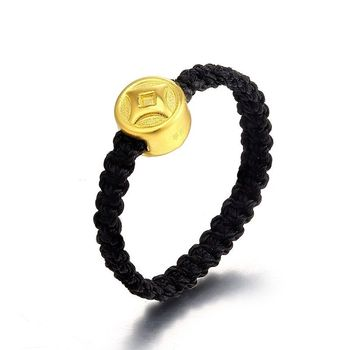 NEW 24K Yellow Gold Lucky Coin Bead with Black Knitted Ring Band Size 7