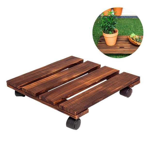 Placeholder Wooden Plant Pot With Wheels Roller Moving Tray Torus Holder Wood Square Caddy