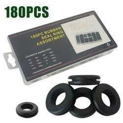 180 sztuk nowy 6 25mm czarny samochód gumowa przelotka kabel przelotka asortyment uszczelnienie 8 rozmiarów zestaw asortymentowy z pudełkiem na kabel drutu w Przelotki od Majsterkowanie na