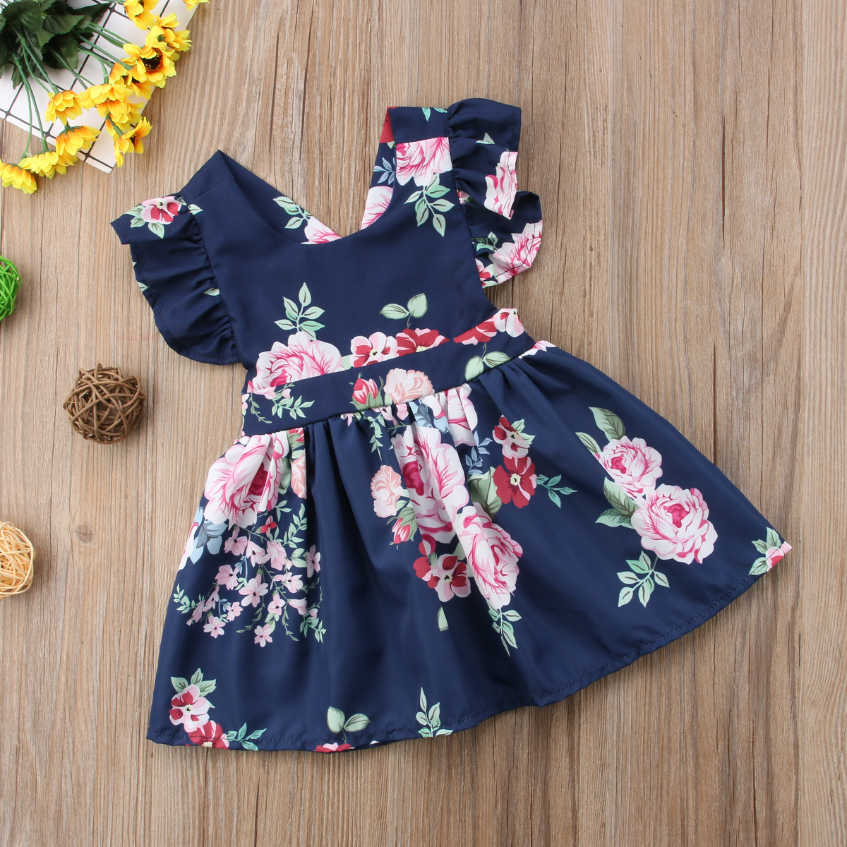 Dresses for Girls,POTO Newborn Toddler Baby Girls Solid Flower Butterfly Backless Casual Dress Clothes Sundress
