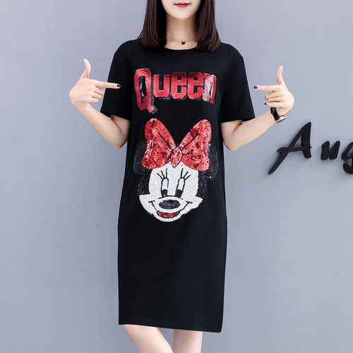 2019 Summer Women <font><b>Sexy</b></font> Short Sleeved Cute Print Casual Loose Dress <font><b>Femme</b></font> Fashion O Neck Plus Size <font><b>5xl</b></font> Dresses Vestidos image