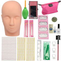 Eyelash Extension Training Set Mannequin Flat Head With 10mm Individual Eyelashes Curl Glue Kit For Semi Permanent Grafting Lash