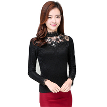 Women Tops Lace Long Sleeve Shirt Blouse 2018 Autumn New Sexy Hollow Mesh Embroidery Pearl Plus Velvet Warmth Femme tops
