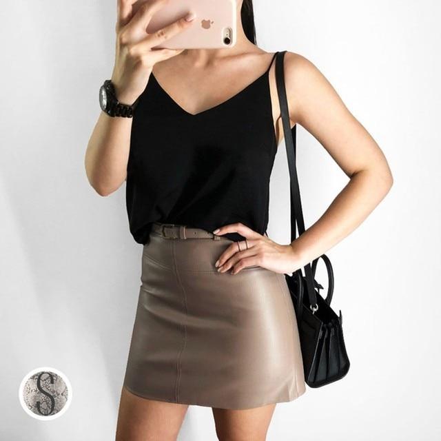 45c5cb58999f0 2018 Autumn Winter High Waist Pu Leather Skirt Korean Fashion Cute A-line  Mini Skirt Harajuku Streetwear Black Falda Saia
