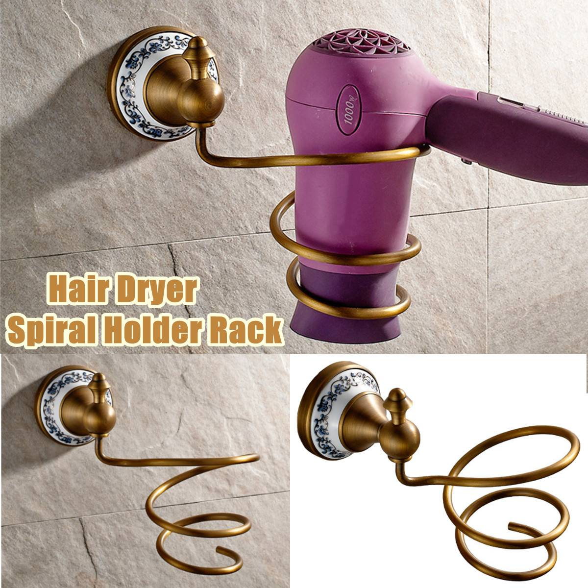 Motivated Luxury Gold Color Brass European Innovative Wall-mounted Hair Dryer Shelf Storage Rack Bathroom Hair Dryer Holder For Hairdryer Fragrant Aroma Bathroom Fixtures Bathroom Shelves