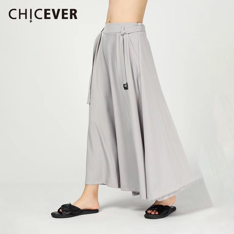 CHICEVER Spring Women   Pant   Drawstring Sashes Mid Waist Pockets Loose Oversize Slim Ankle-length   Wide     Leg     Pants   2019 Fashion New