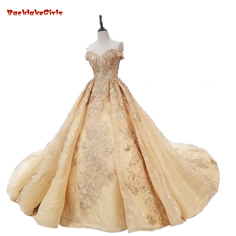 Full Beaded Top Pearl Tassel Back Ruffle Skirt Luxury Bridal Gowns Dignified Graceful Champagne Gold Wedding Dress Embroidery