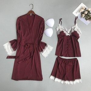 Image 4 - 2019 Women Pajamas Sets 3 Pieces Satin Sleepwear Pijama With Chest Pads Spaghetti Strap Lace Silk Sleep Lounge Nightwear Pyjama