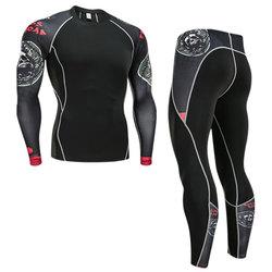 Зимний комплект термобелья, мужская спортивная одежда для бега, тренировочный теплый базовый слой, компрессионные колготки, костюм для бег...