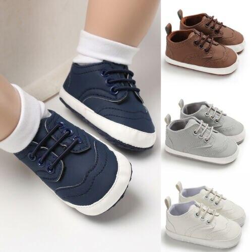 Baby Boys Girls Newborn Pram Crib Soft Sole Shoes Sneakers Trainers 0-18M Infant