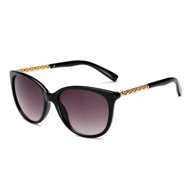Iboode gafas de sol tipo ojo de gato extragrandes de la marca de lujo de las mujeres gafas de sol mujer marco hueco de Metal tonos Vintage con marco grande gafas