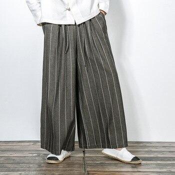 e0d2784b5893f0b #4501 японские кимоно стиль Брюки Мужские Винтажные льняные удобные  свободные полосатые широкие брюки мужские свободные повседневные уличны.