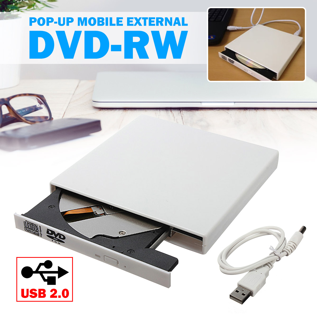 Fino Drive Óptico Externo USB 2.0 de Combinação DVD ROM DVD Player CD-Rw Writer Plug and Play Para macbook Laptop PC Desktop