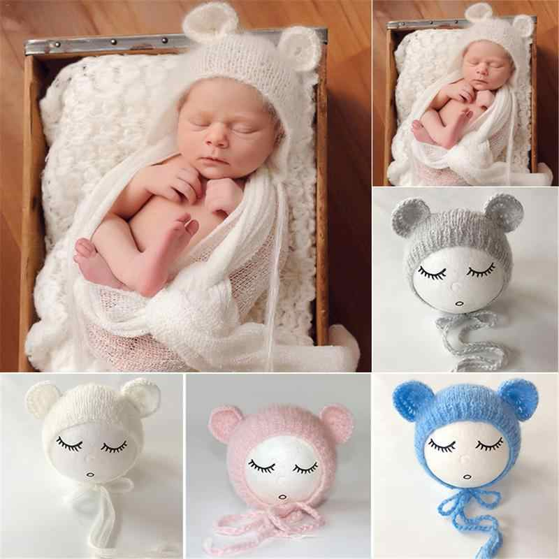 e93d3059bcb34 Newborn Baby Cute Crochet Knit Costume Prop Outfits Photo Photography Baby  Hat Photo Props New born baby girls lovely cap
