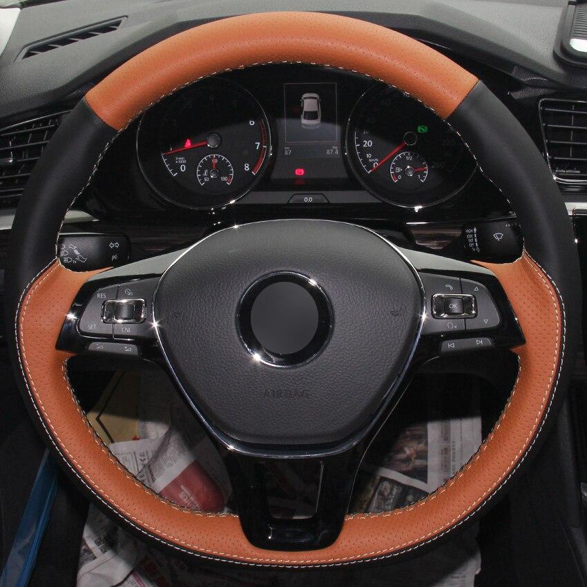 Housse de volant de voiture en cuir naturel noir marron pour Volkswagen VW Golf 7 Mk7 nouvelle Polo Jetta Passat B8 Tiguan Sharan Touran