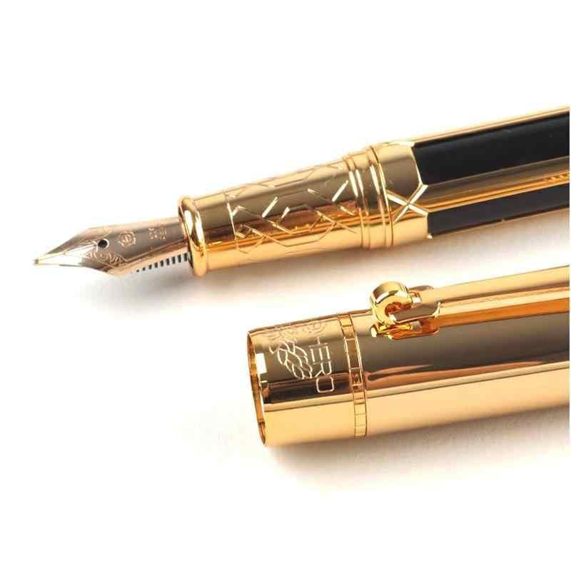 Alta qualidade de luxo caneta tinta nib 0.5mm 10 k ouro papelaria bonita caixa presente penna stilografica stylo plume 03824