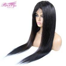 Berrys Fashion 4x4 Lace Closure Human Hair Wig For Women Black Color Brazilian Body Wave 200% Density Customized Lace Front Wig(China)