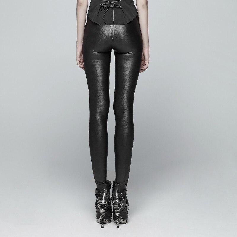 Панк рейв Новый дьявол в готическом стиле следы черные женские леггинсы модные выдалбливают панк эластичные женские тонкие сексуальные те... - 2