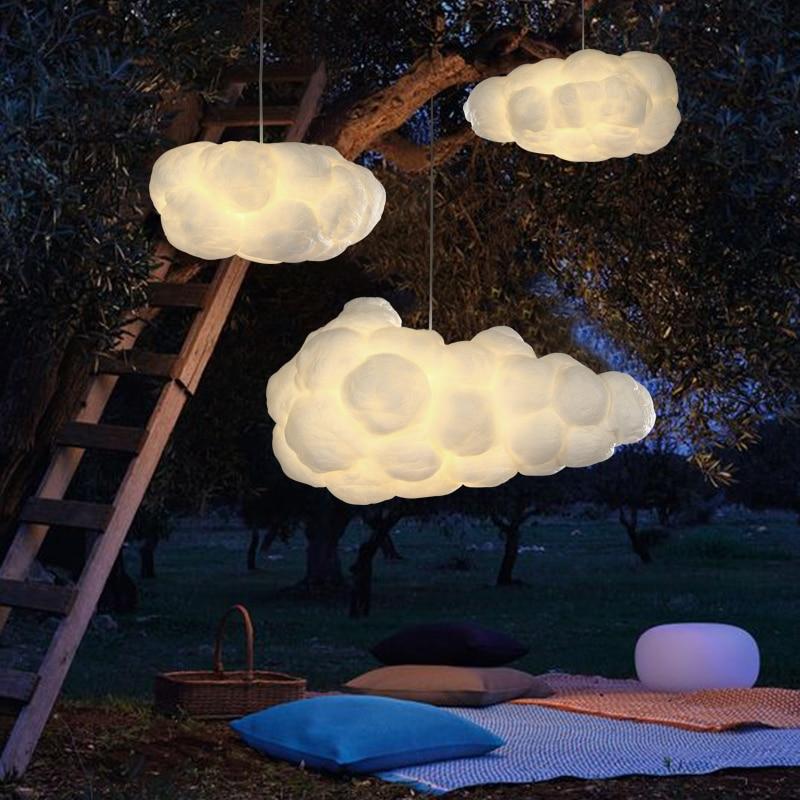 Modern White Floating Cloud Pendant Light For Bedroom Living Room Cloth Store Restaurant Indoor Lighting Decor E27 Base