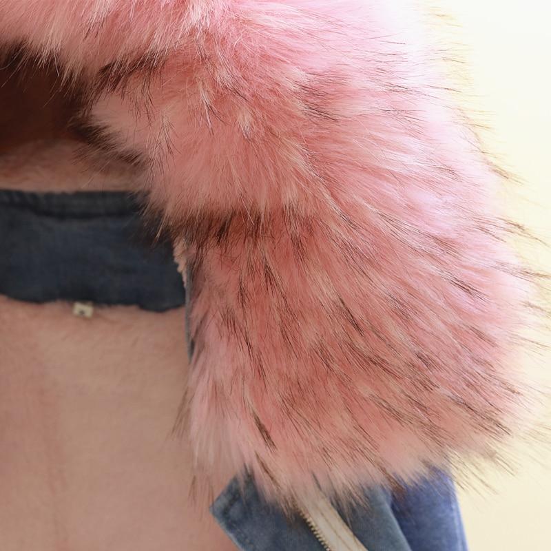 De À Longueur Col Veste Étudiant Grand white 2018 Hiver Velours pink Manteau Denim Et Manches Gray Longues Coton Moyen Fourrure Nouveau Rembourré Femmes nwaqX4tY