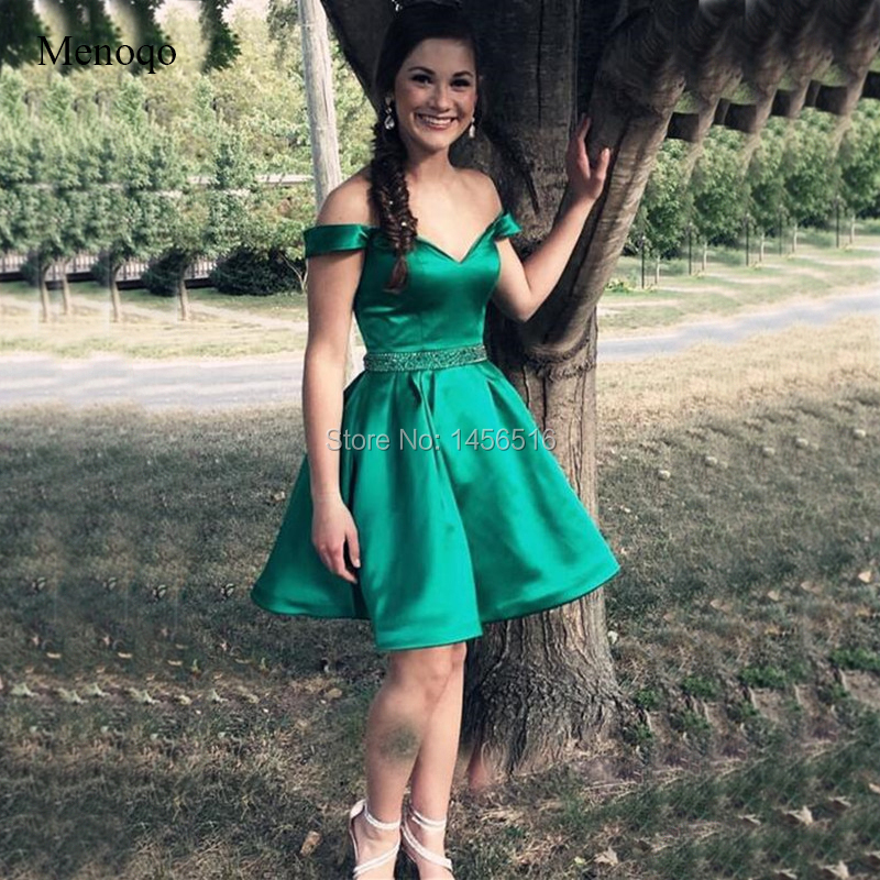 Sexy Off Shoulder Short   Prom     Dresses   With Beading Waist 2019 A Line Green Satin Mini   Dress     Prom   Gown