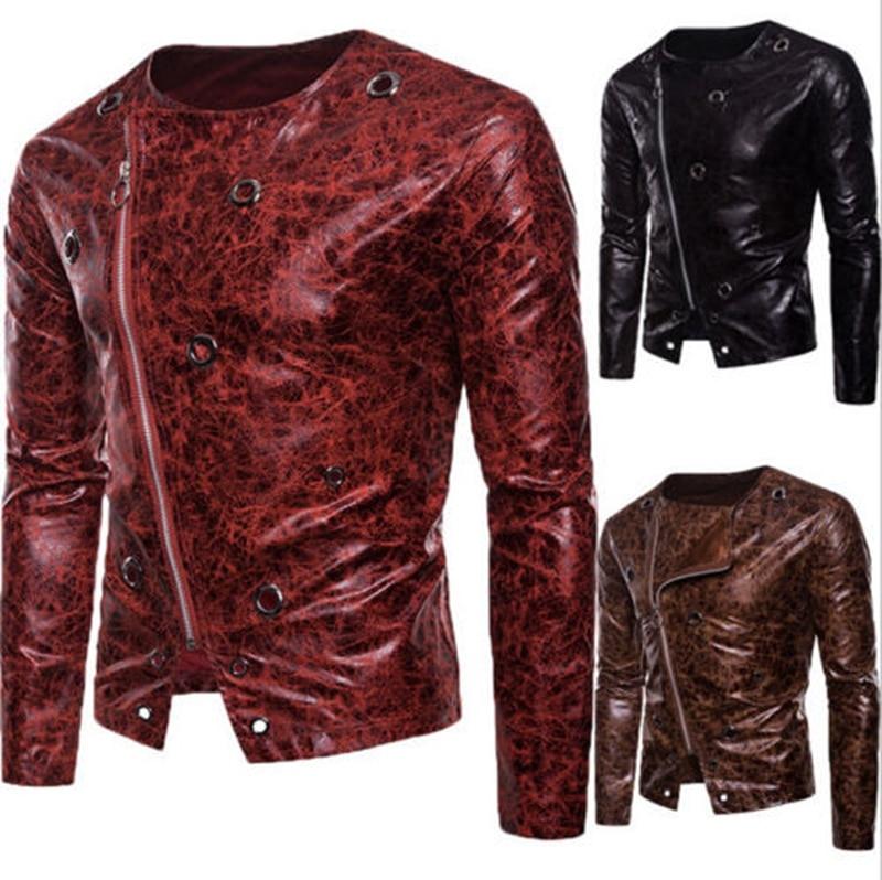 Men Leather Jacket Motorcycle Coat Slim Fit Outwear