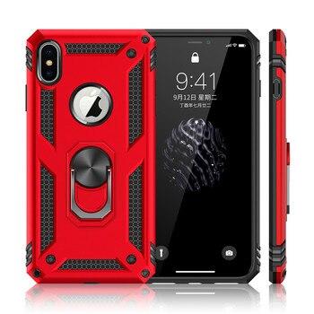 653be608ae4 Carcasa de teléfono a prueba de golpes para iPhone XR XS Max X 6 6 S 7 8  Plus anillo magnético de dedo funda de borde suave anticaída