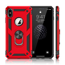 Shockproof Armor Kickstand Phone Case For iPhone XR XS Max X 6 6S 7 8 Plus Finger Magnetic Ring Holder Anti-Fall Soft Edge Cover(China)