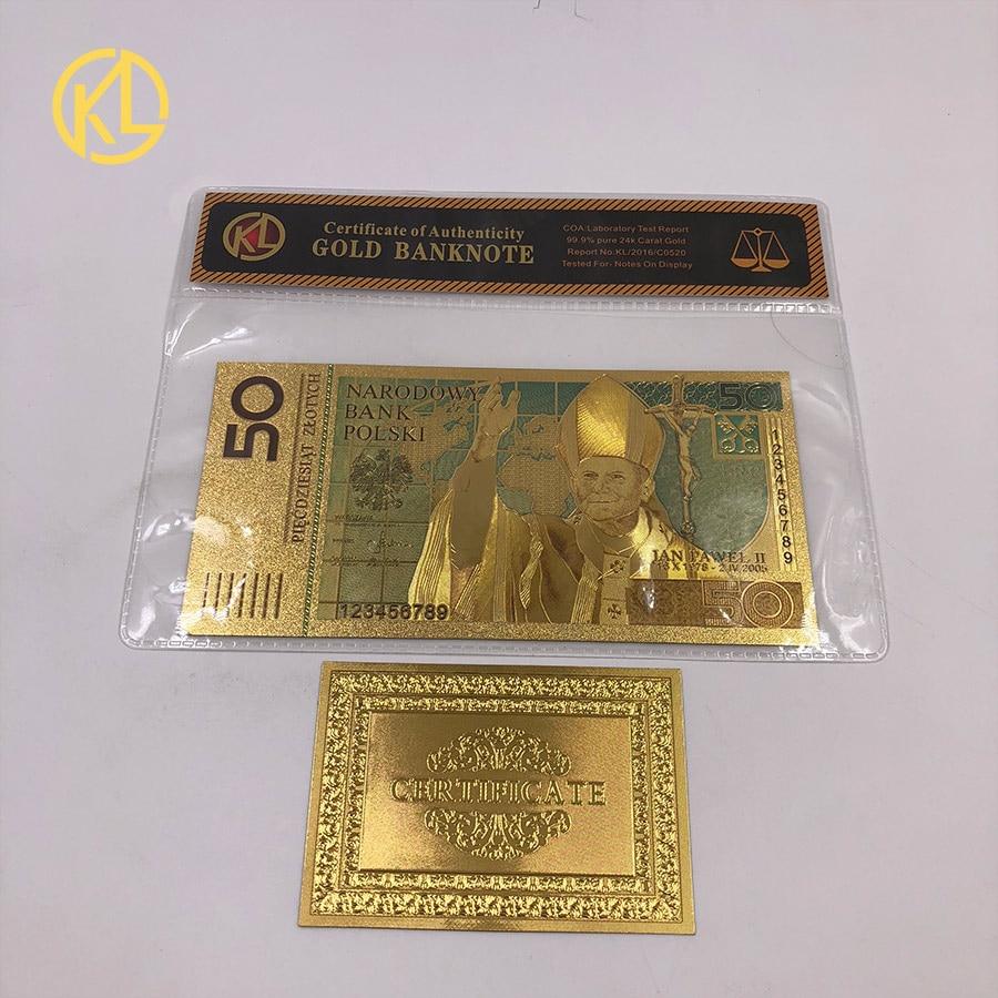50 pln zloty polónia banknotegold banhado a nota colorida 24k folha de ouro dinheiro falso bill para coleção decoração para casa
