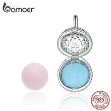 BAMOER Perfume Locket Pendant Charm for Snake Bracelet Necklace Real 925 Sterling Silver Silver Cage with Two Felt Ball SCC1198(China)