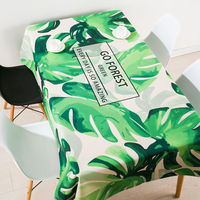 Thicken nordic linen tablecloth table cloth garden fresh green leaf simple modern coffee rectangular home decoration table cove